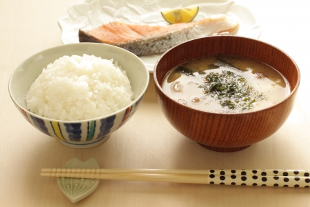 Japanese food, miso soup and rice for breakfast image