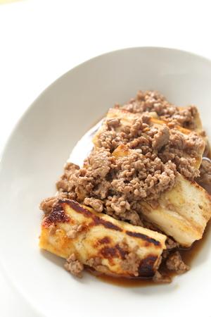 Chinese food, Tofu and mince pork stir fried Stock Photo