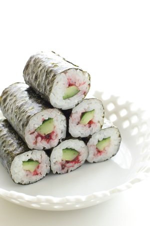 ume: Japanese food, ume and cucumber roll sushi