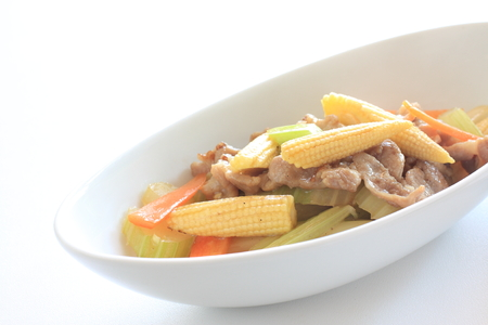 baby corn: Thai cuisine, baby corn and gizzard stir fried