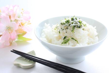 Japanese food, small sardines furikake on rice  版權商用圖片