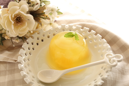 nata: close up of Pineapple and nata de coco jelly Stock Photo