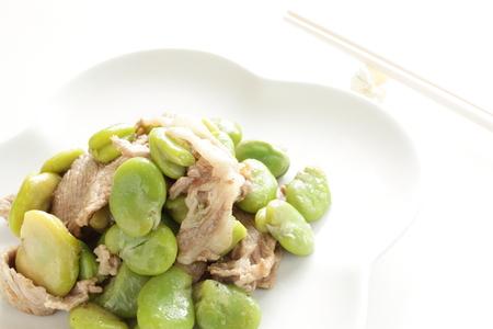 chinese cuisine, broad bean and pork stir fried