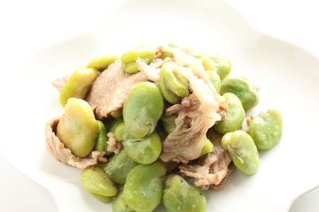 bakla: chinese cuisine, broad bean and pork stir fried