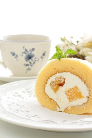 swiss roll: Homemade mango and walnut Swiss roll Stock Photo