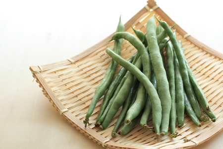 french bean: freshness french bean on bamboo basket Stock Photo