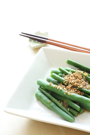 french bean: Japanese food, boiled french bean with sesame