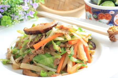 chinese food, dried mushroom and vegetable stir fried Stock Photo