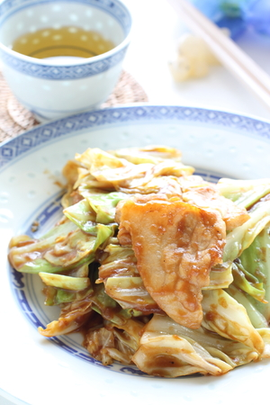 Chinese food, pork and cabbage stir fried Stock Photo