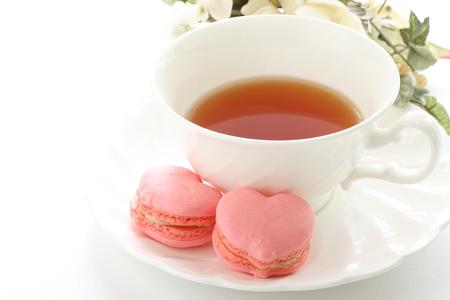 heart shape macaroon and English tea for afternoon tea image