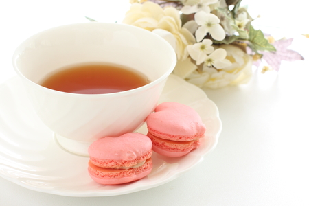 heart shape macaroon and English tea for afternoon tea image photo