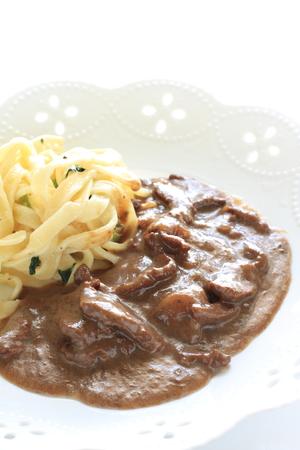 russian food: Russian food, stroganoff beef with fettuccine pasta