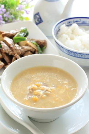 中華料理、ご飯とミンチ鶏肉トウモロコシ oup 写真素材