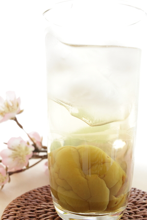 japanese liquor, iced Umeshu Plum wine photo