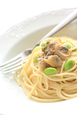 comida italiana: comida italiana, mariscos y frijoles espaguetis Foto de archivo