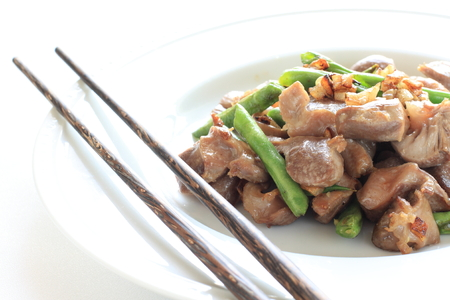 gizzard: Chinese food, gizzard and peas stir fried