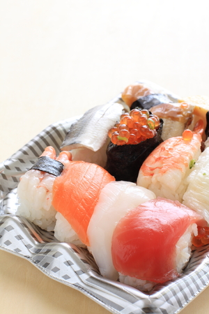 take out: Japanese food, sushi on food container for take out food image
