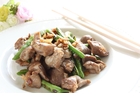 gizzard: Chinese food, gizzard and bean stir fried