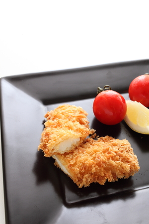 japenese: Japenese food, deep fried squid with bread crumbs Katsu Stock Photo