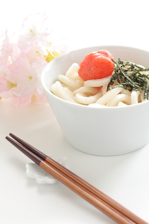 japenese: Japanese cuisines, mentaiko and seaweed on udon noodles,