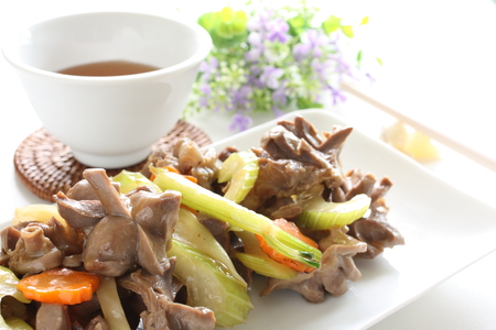 gizzard: Chinese food, celery and gizzard stir fried Stock Photo