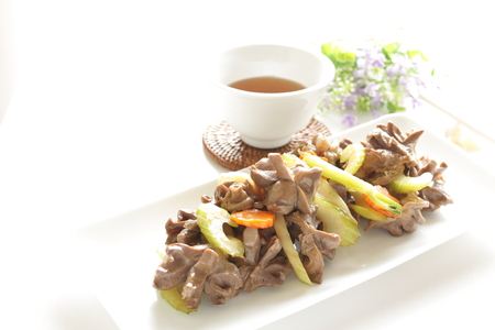 gizzard: Chinese food, gizzard and celery stire fried