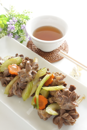 gizzard: Chinese food,gizzard and celery stir fried Stock Photo