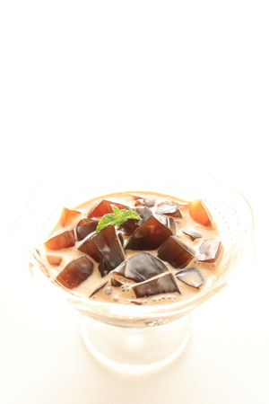 coffee jelly: coffee jelly in milk for gourmet dessert