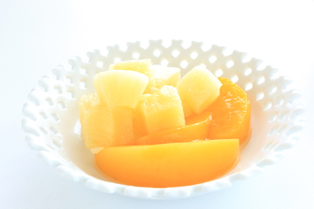 canned food: canned food, peach and pineapple Stock Photo