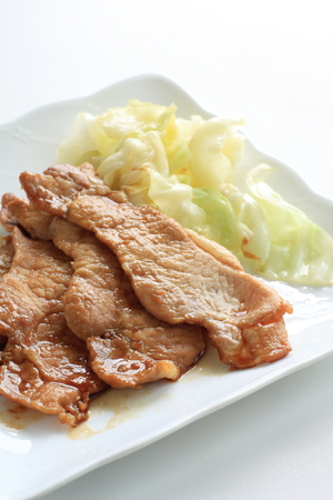 seared: Japanese food, seared ginger pork with boiled cabbage Stock Photo