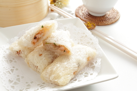 spring roll: chinese food, seafood white spring roll Archivio Fotografico