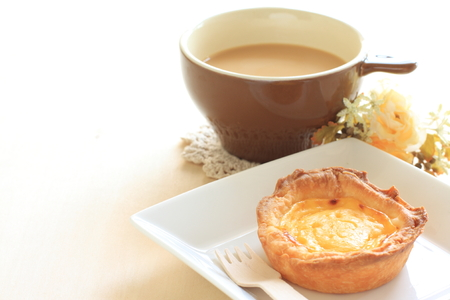 Egg tart and coffee latte