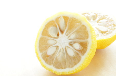 Japanese winter food ingredient, Yuzu for citrus fruit image