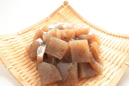 Healthy food ingredient, chopped Konjac