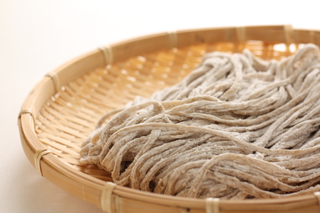 soba noodles: Japanese food ingredient, raw soba noodles Stock Photo