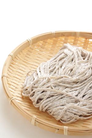 soba noodles: Japanese food ingredient, raw soba noodles Stock Photo
