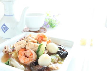 stir fried: Chinese food, seafood and pork stir fried