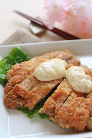regional: Japanese Miyazaki regional food, fried chicken with tartar sauce Stock Photo