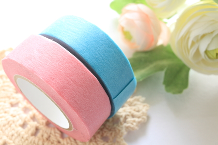 masking: pink and blue masking tape