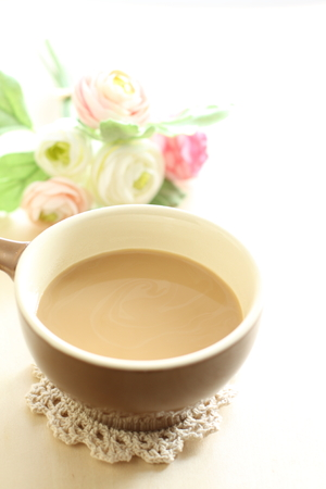 cafe latte: cafe latte and flower Stock Photo