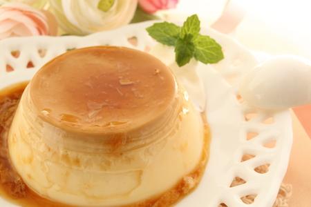 custard pudding with caramel sauce Stock Photo