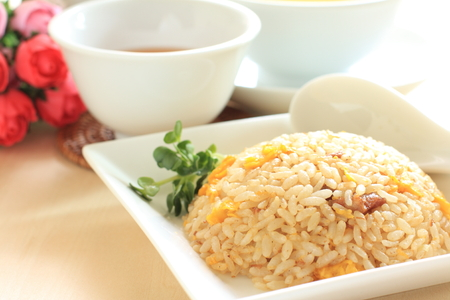 Chinese food, egg and pork fried rice