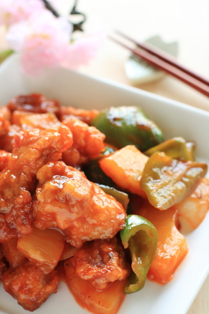 chinese food: Chinese cuisine sweet and sour spareribs