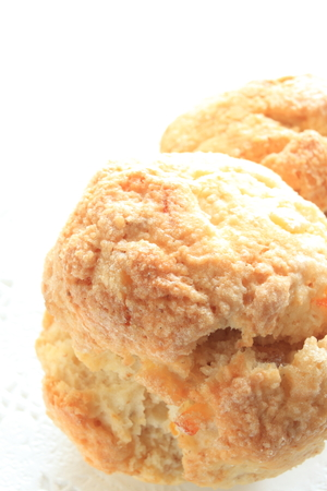 scone: English breakfast scone on white background