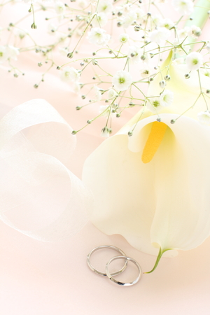Calla lily and pair of rings for wedding image