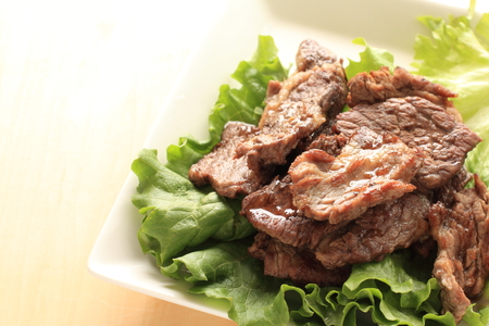 Korean food Yakiniku grilled marble beef 免版税图像
