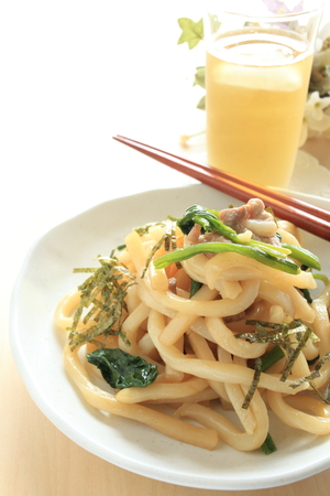 chinese cuisine: Japanese food Udon noodles and pork stir fried