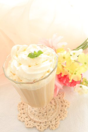 iced coffee: homemade iced coffee with decoration sugar Stock Photo