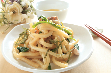 Japanese food Udon noodles and pork stir fried