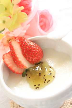 strawberry and Kiwi fruit on Almond Tofu for Chinese dessert image photo
